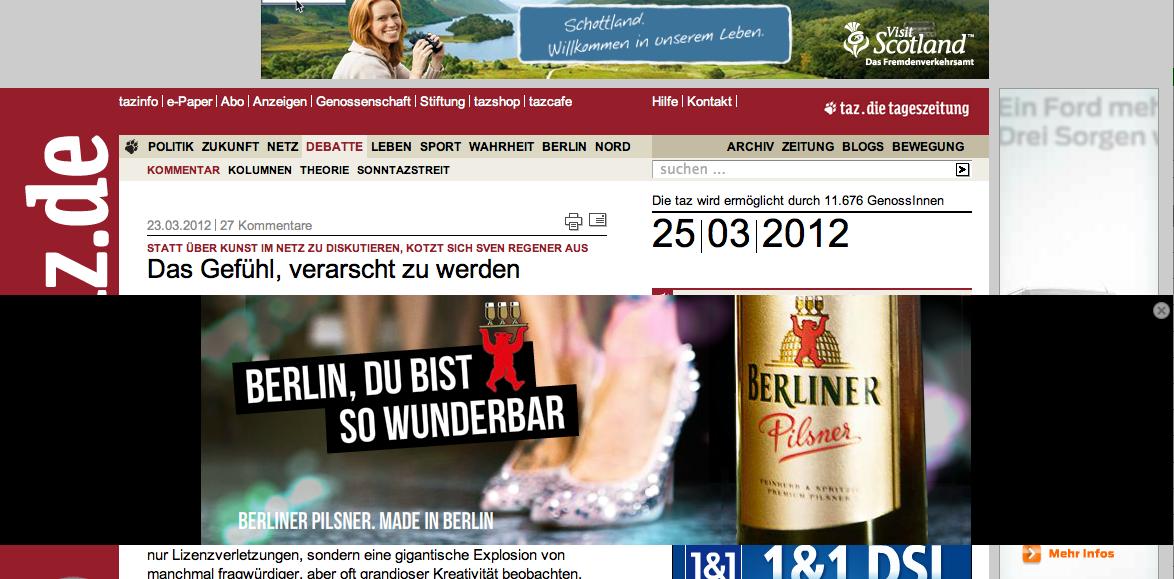 Kommentar bei taz.de zum Regener Rant am 25.3.2012