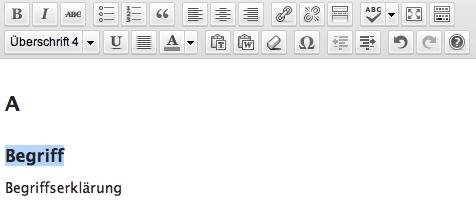 Glossar mit WordPress-Bordmitteln: Formatierung der Begriffssammlung