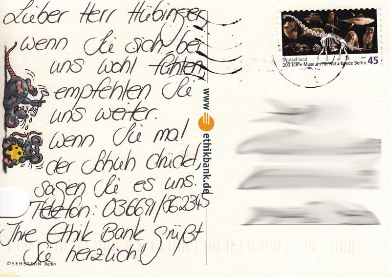 Postkarte von der EthikBank an ihren neuen Kunden ;)