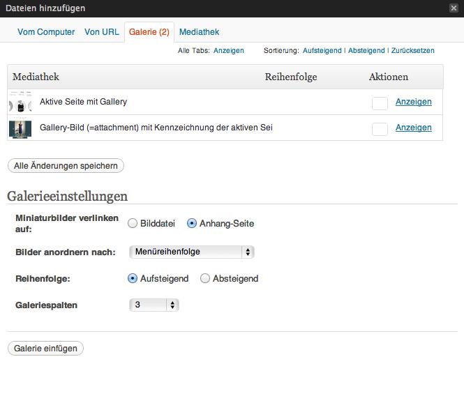 Optionen für die Standard-Galerie in WordPress
