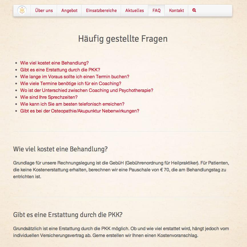 FAQ-Seite mit dynamisch generiertem Inhaltsverzeichnis