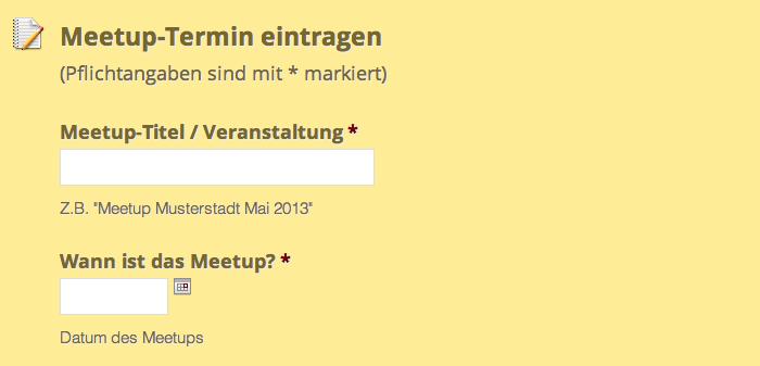 Formular für neue Meetup-Termine