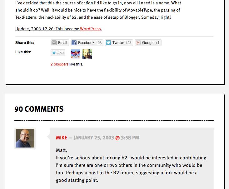 Mike Littles Kommentar: die Geburtsstunde von WordPress.