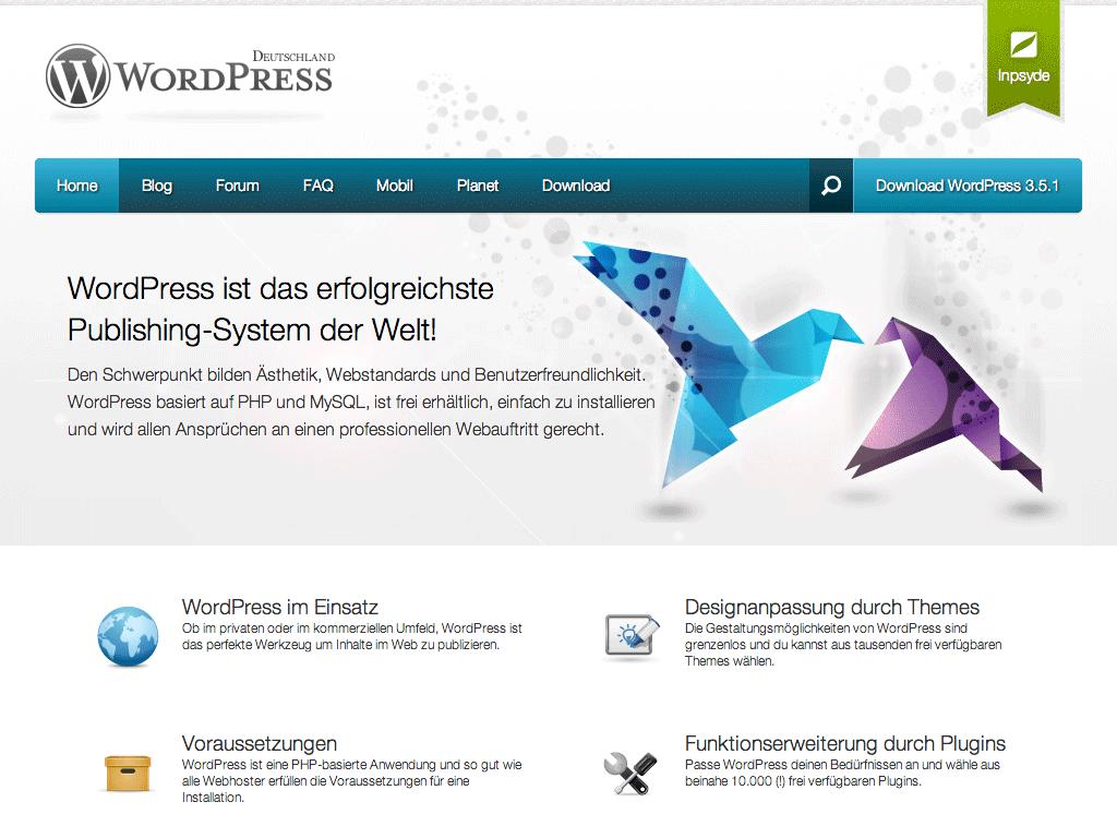 Die Startseite von WordPress Deutschland heute.
