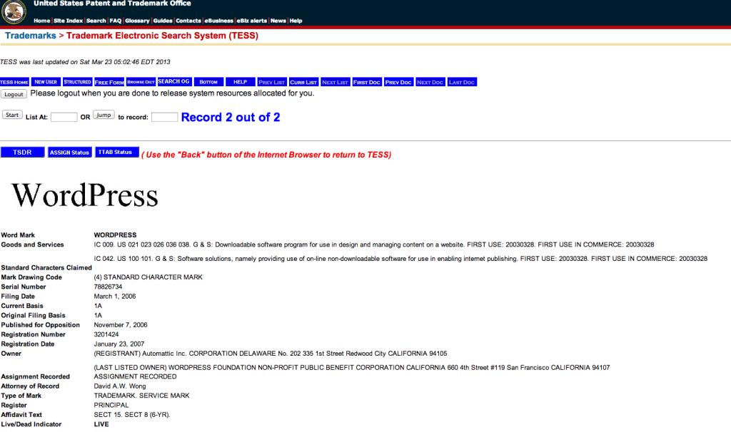 WordPress Markeneintrag beim United States Patent and Trademark Office