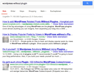 "Google Suchergebnisse zu ""wordpress without plugin"""