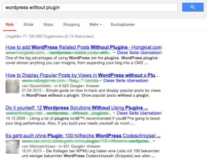 """Google Suchergebnisse zu """"wordpress without plugin"""""""