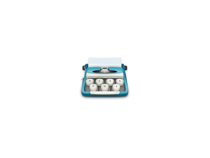 Desk app icon: a typewriter. 3 keys forming the domain desk.pm plus an arrow down.