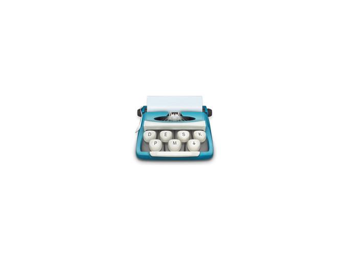 Desk app icon: a typewriter. 3 keys forming the domain desk.pm plus an arrow down.