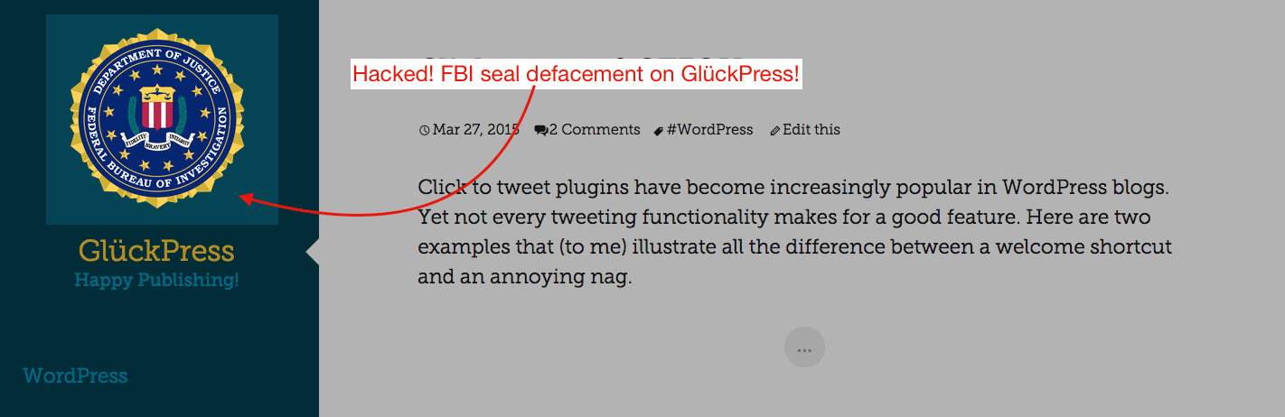 FBI seal defacement on GlückPress