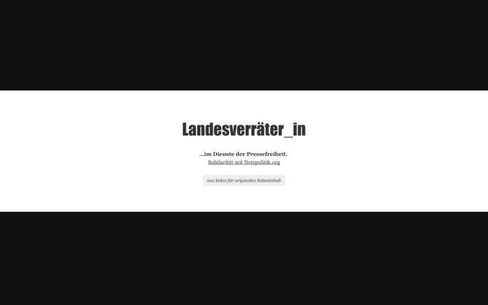 Screenshot des vorgeschalteten HTML-Seite des Plugins landesverraeter_in