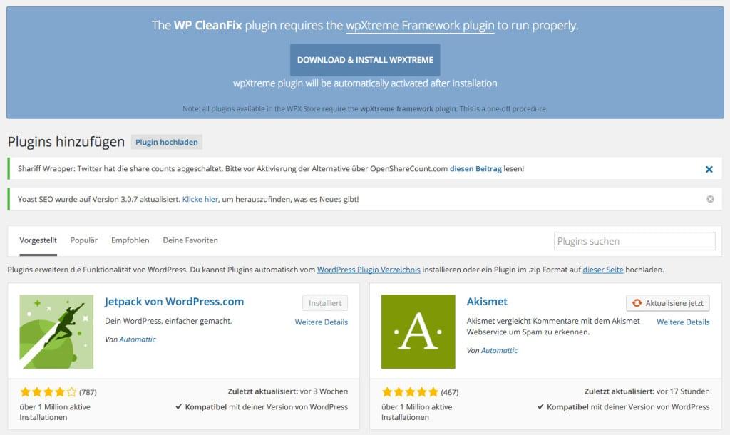 WP Cleanfix bittet um Aufmerksamkeit, ein Framework werde benötigt.Platz ist ja genug da, was soll das schlechte Leben nützen?