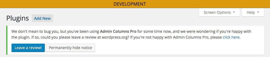Admin Columns Pro bittet um einen Review.(Wohlgemerkt: die Pro, nicht die freie Version.)