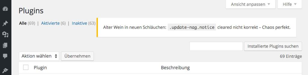 Ungeklärtes Floating von .update-nag.notice im WP-Admin