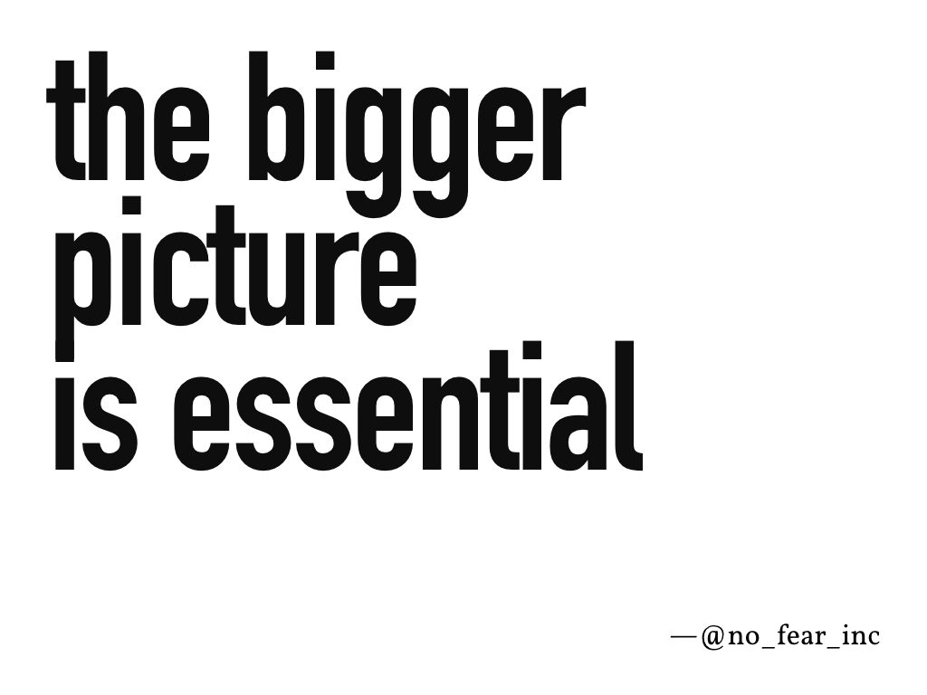 """The bigger picture is essential"" —@no_fear_inc"