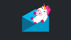 Illustrated blue envelope with white and pink unicorn emerging out of it
