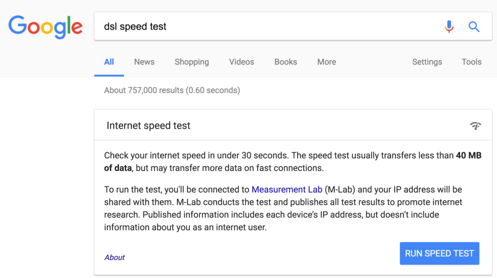 "Google.com search result for ""dsl speed test"" with embedded test tool"