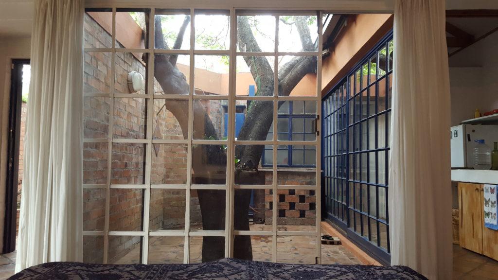 Dusche im Innenhof meines Cottage; außerdem Baum im selben Innenhof!
