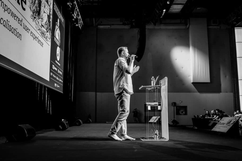 Yours truly on WCEU stage