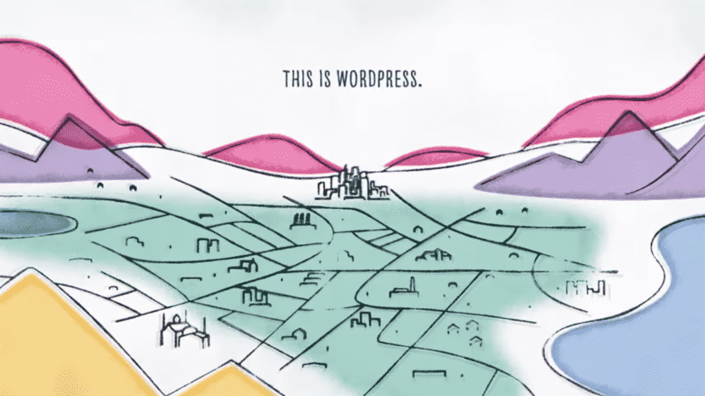 Video screenshot: Colourfully drawn lanscape with fields, villages, cities, roads, surrounded by mountains; headline: This is WordPress